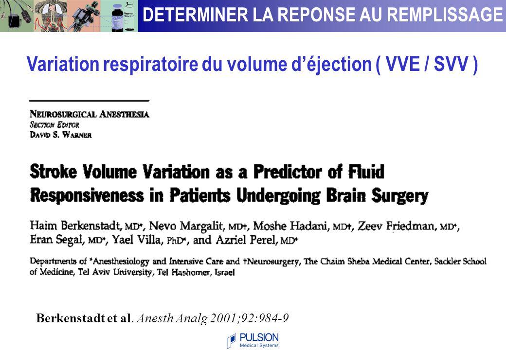 ParamètreValeurValeurprédictive positivenégative Tavernier  down95 %93 % Anesthesiology 1998 Michard  PP94 %96 % AJRCCM 2000 Feissel  Vpeak91 %100