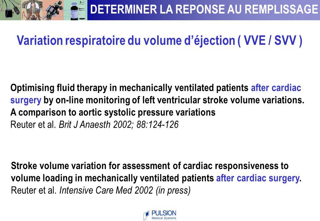 0 0.5 1 1- spécificité sensibilité SVV CVP 9.5 % 0 0.6 0.4 1 0.8 0.2 Berkenstadt et al Anesth Analg 2001;92:984-9 Sensibilité = 79 % Spécificité = 93 % Variation respiratoire du volume d'éjection ( VVE / SVV ) DETERMINER LA REPONSE AU REMPLISSAGE