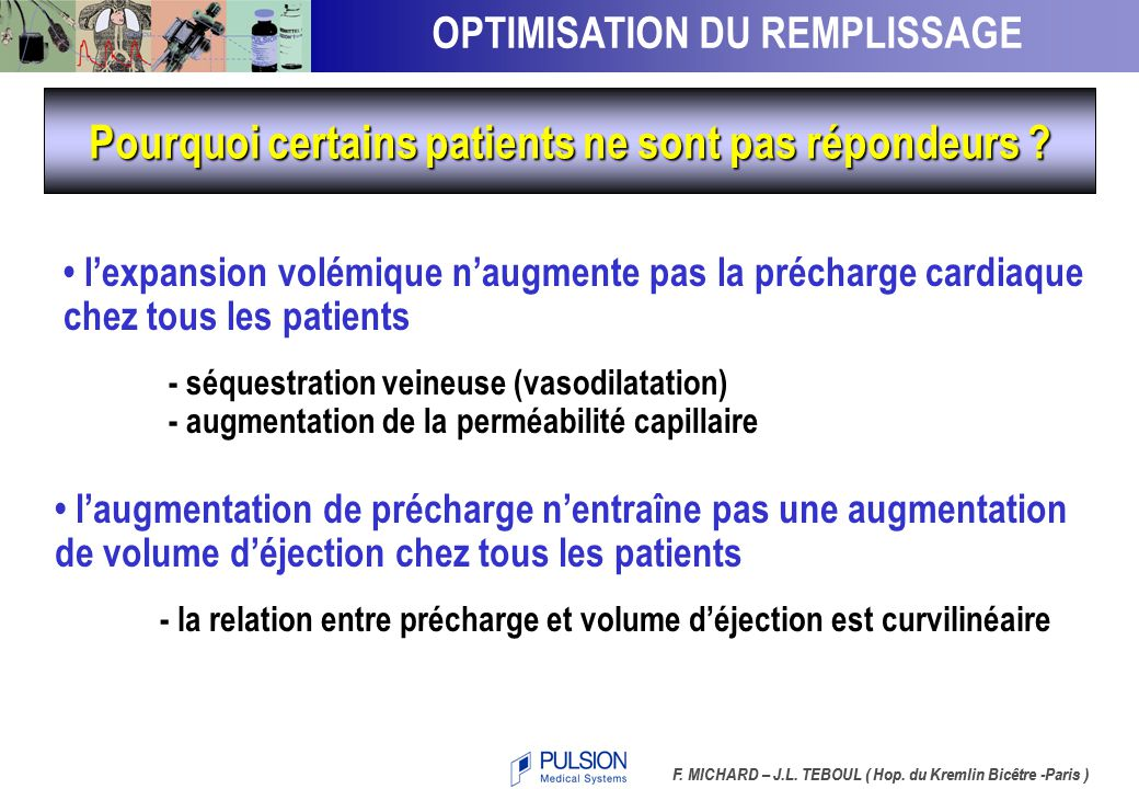 VSIT – Indicateur de Précharge cardiaque 4.1  CI /  GEDVI  GEDVI (mL/m 2 )  CI (L/min/m 2 ) r = 0.87 Central venous pressure, pulmonary capillary