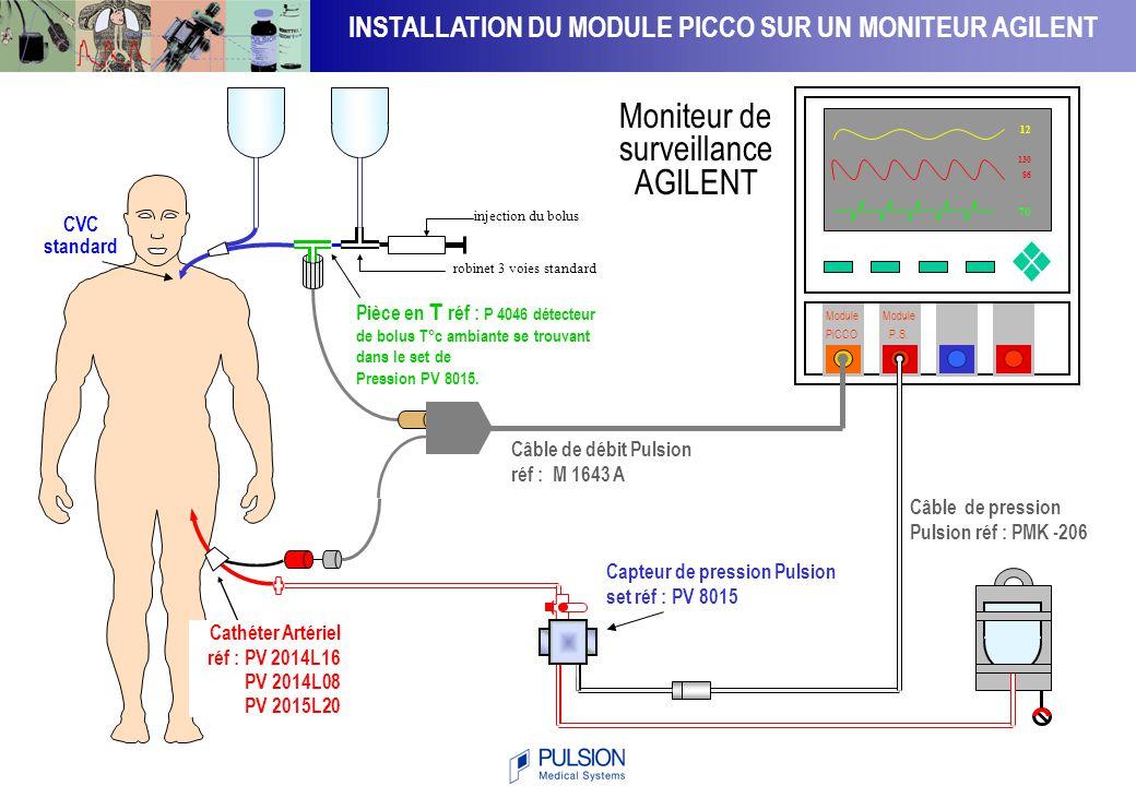7070 1212 1308613086 Installation du Moniteur PiCCO plus Cathéter Veineux Central Capteur de Température PV4046 ( température ambiante < 24° ; injectat : - 100 kg,15 ml; + 100 kg, 20 ml) Cathéter Artériel de Thermodilution Réf.