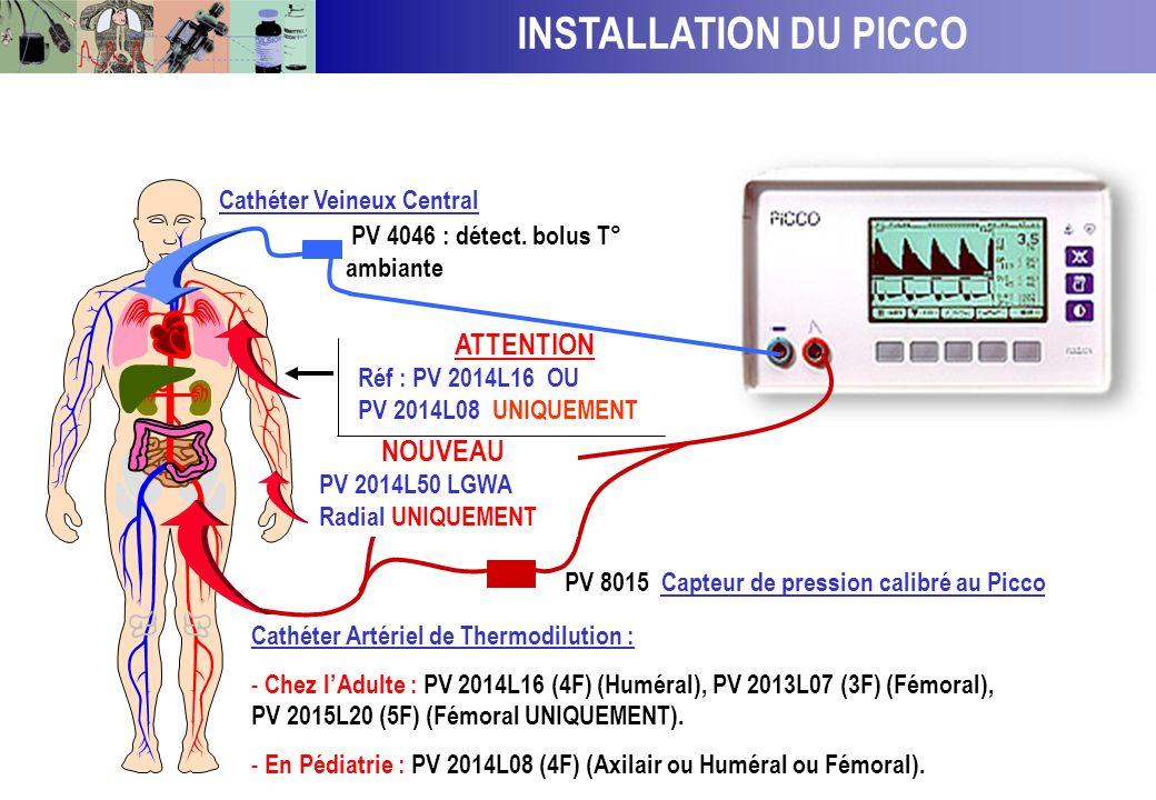 INSTALLATION DU MODULE PICCO SUR UN MONITEUR AGILENT Pièce en T réf : P 4046 détecteur de bolus T°c ambiante se trouvant dans le set de Pression PV 80