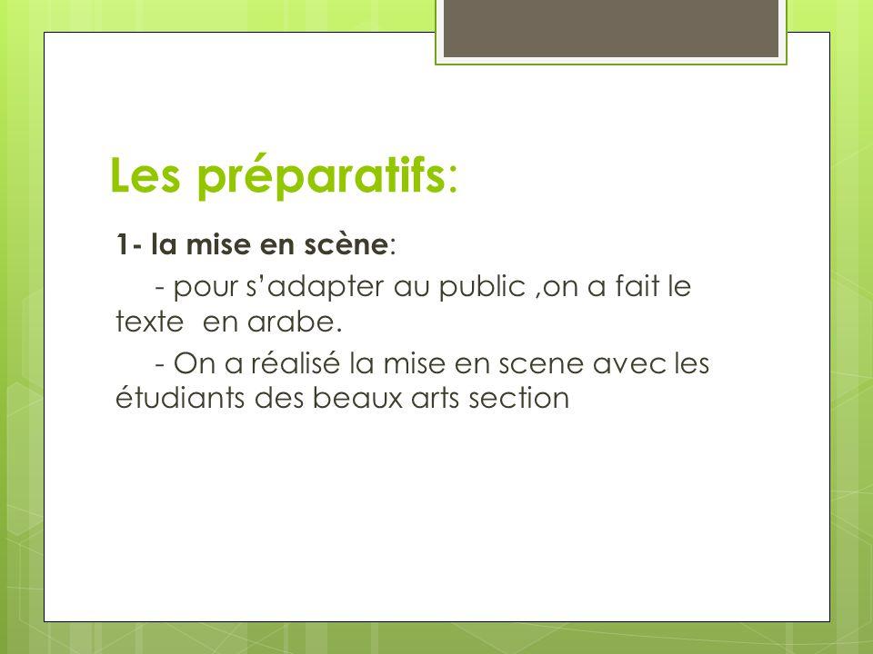 Les préparatifs : 1- la mise en scène : - pour s'adapter au public,on a fait le texte en arabe.