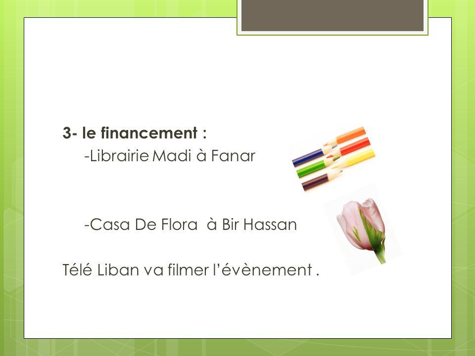 3- le financement : -Librairie Madi à Fanar -Casa De Flora à Bir Hassan Télé Liban va filmer l'évènement.