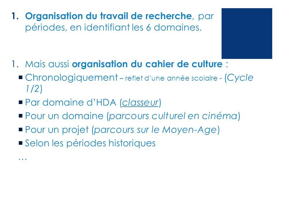 1. Organisation du travail de recherche, par périodes, en identifiant les 6 domaines. 1.Mais aussi organisation du cahier de culture :  Chronologique