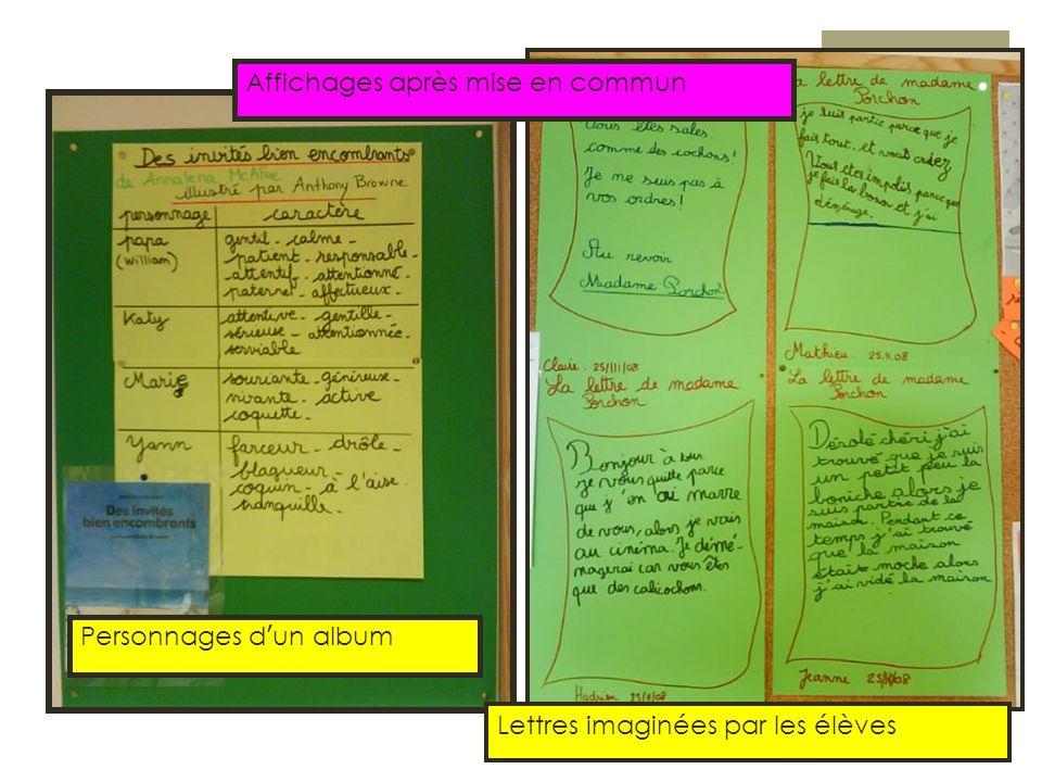 Affichages après mise en commun Personnages d'un album Lettres imaginées par les élèves