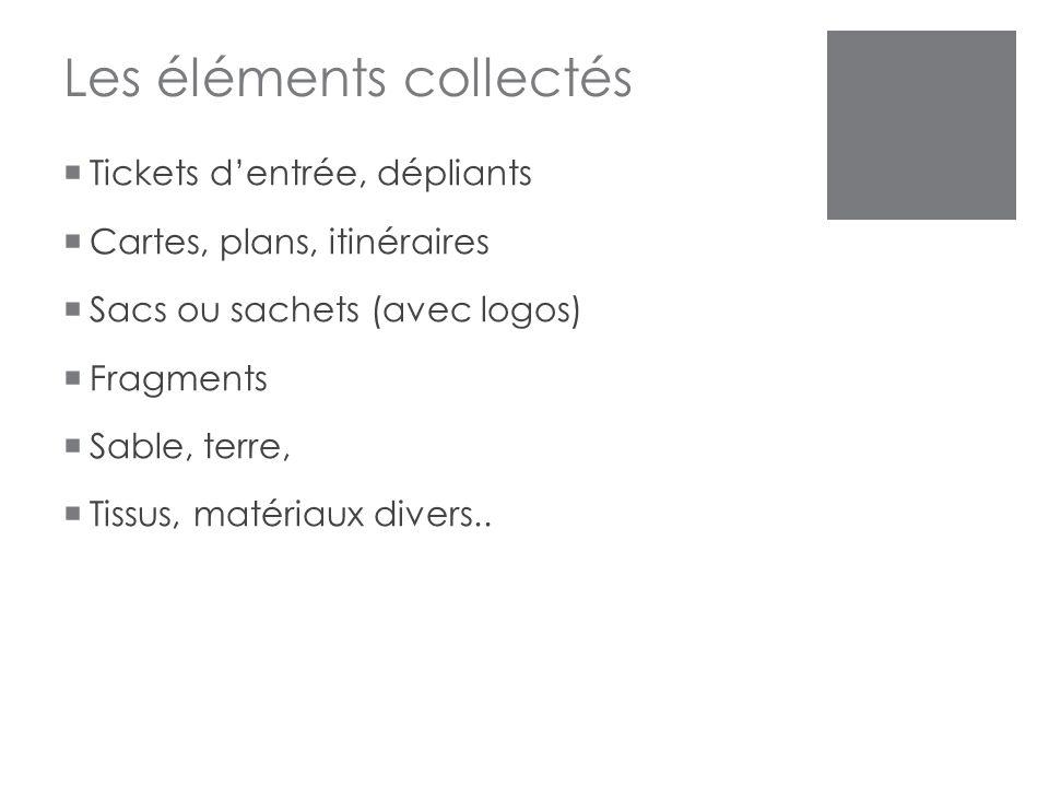 Les éléments collectés  Tickets d'entrée, dépliants  Cartes, plans, itinéraires  Sacs ou sachets (avec logos)  Fragments  Sable, terre,  Tissus,