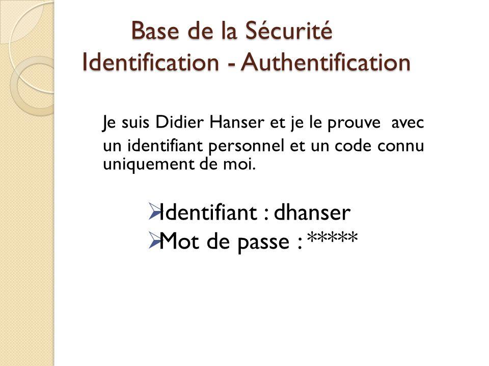 Base de la Sécurité Identification - Authentification Je suis Didier Hanser et je le prouve avec un identifiant personnel et un code connu uniquement