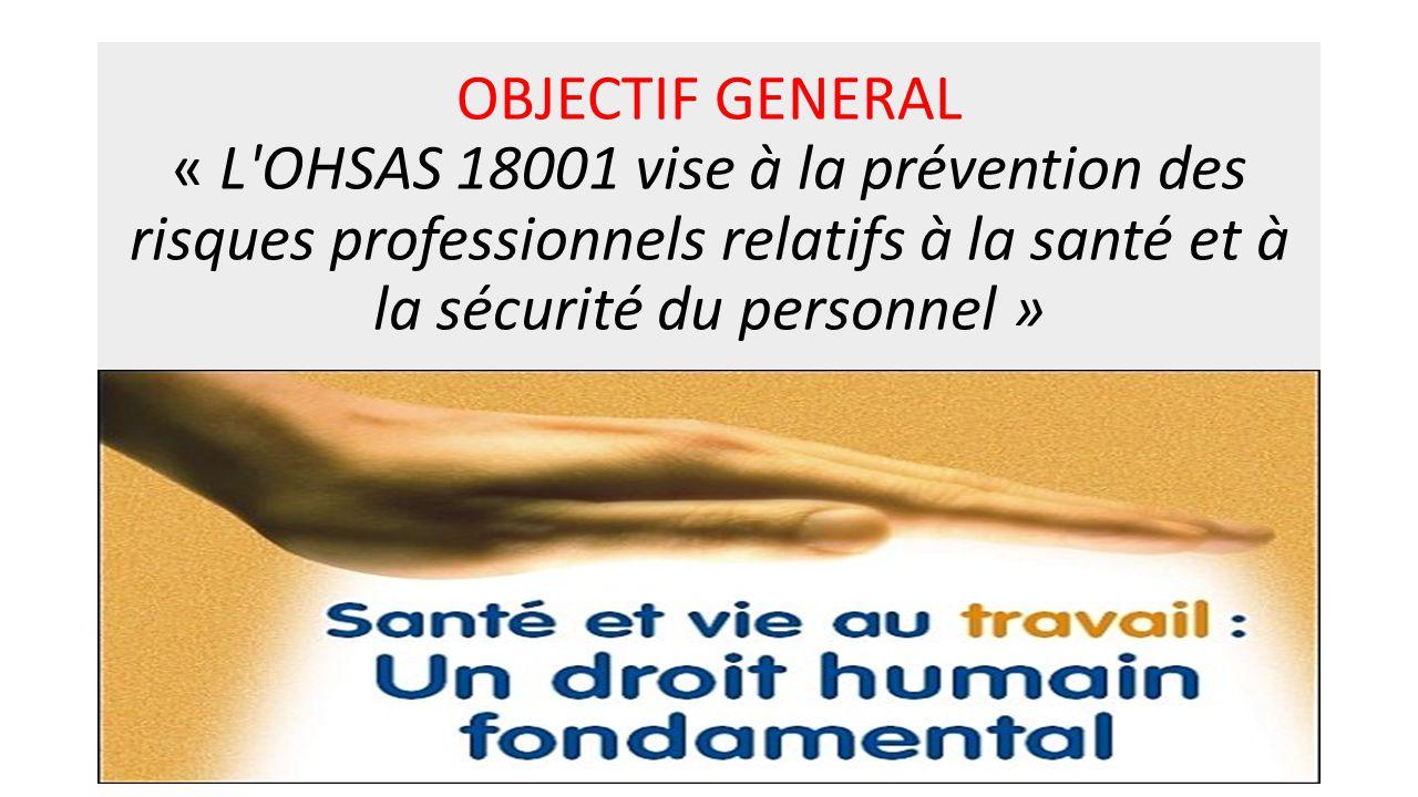OBJECTIF GENERAL « L'OHSAS 18001 vise à la prévention des risques professionnels relatifs à la santé et à la sécurité du personnel »