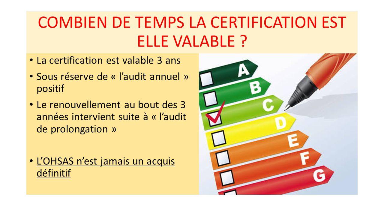 COMBIEN DE TEMPS LA CERTIFICATION EST ELLE VALABLE ? La certification est valable 3 ans Sous réserve de « l'audit annuel » positif Le renouvellement a