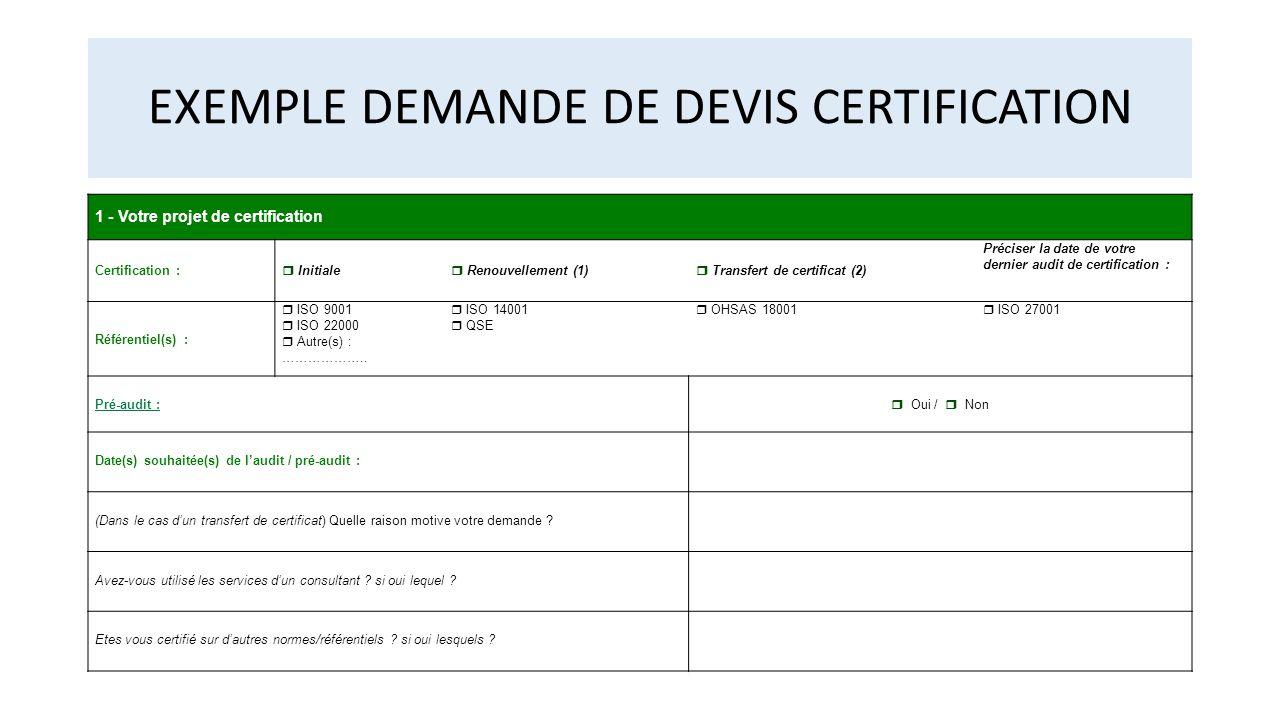 EXEMPLE DEMANDE DE DEVIS CERTIFICATION 1 - Votre projet de certification Certification :  Initiale  Renouvellement (1)  Transfert de certificat (2)