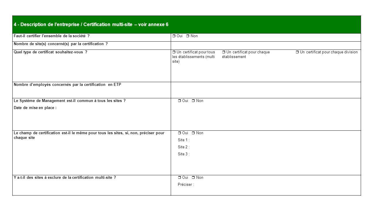 4 - Description de l'entreprise / Certification multi-site – voir annexe 6 Faut-il certifier l'ensemble de la société ?  Oui  Non Nombre de site(s)