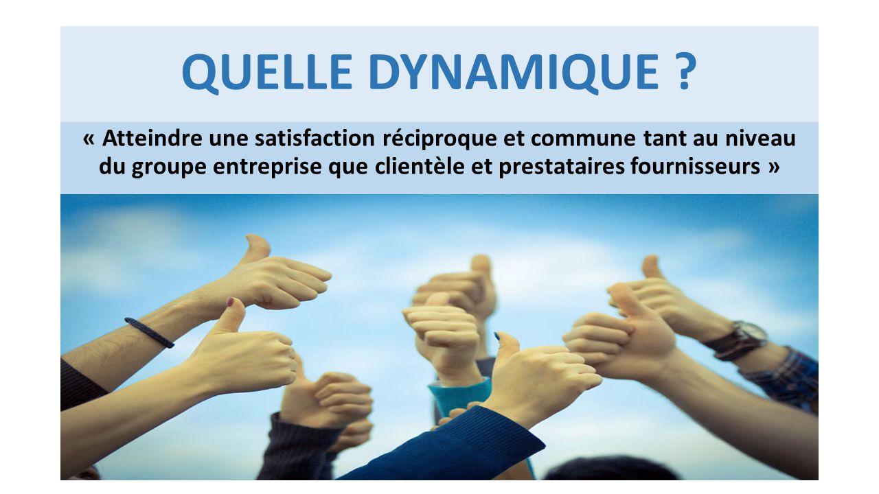 QUELLE DYNAMIQUE ? « Atteindre une satisfaction réciproque et commune tant au niveau du groupe entreprise que clientèle et prestataires fournisseurs »