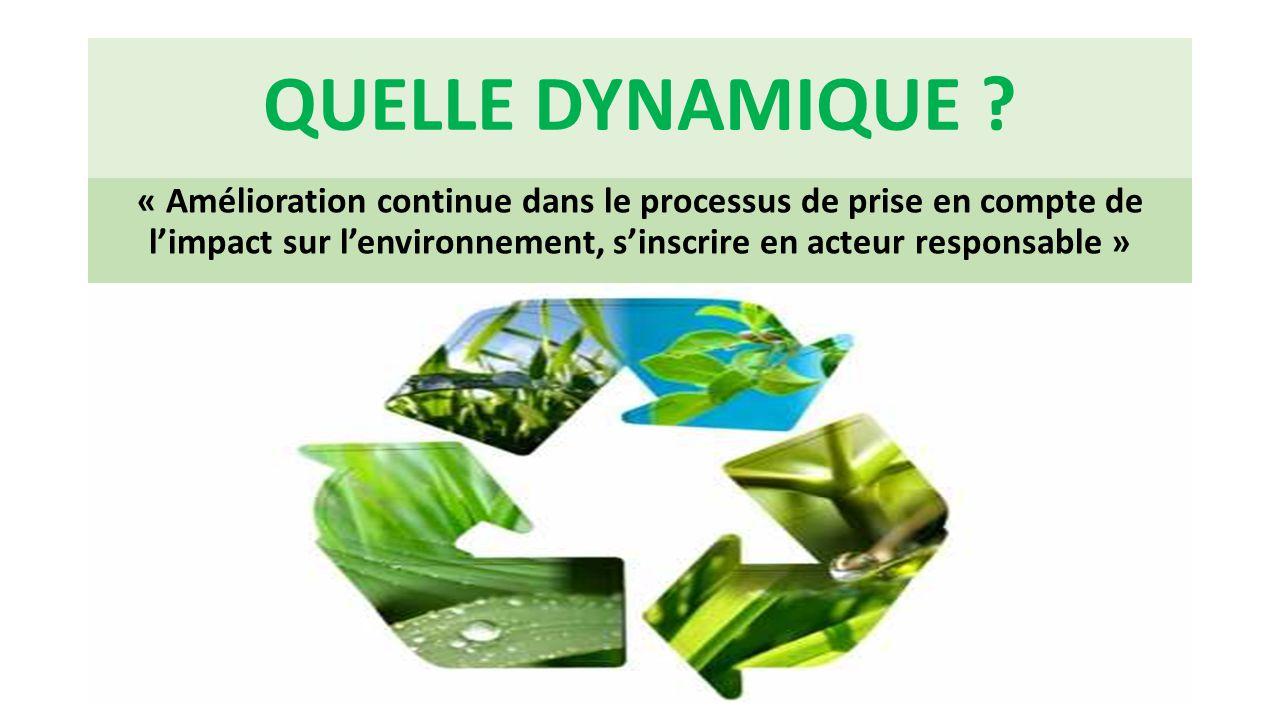 QUELLE DYNAMIQUE ? « Amélioration continue dans le processus de prise en compte de l'impact sur l'environnement, s'inscrire en acteur responsable »
