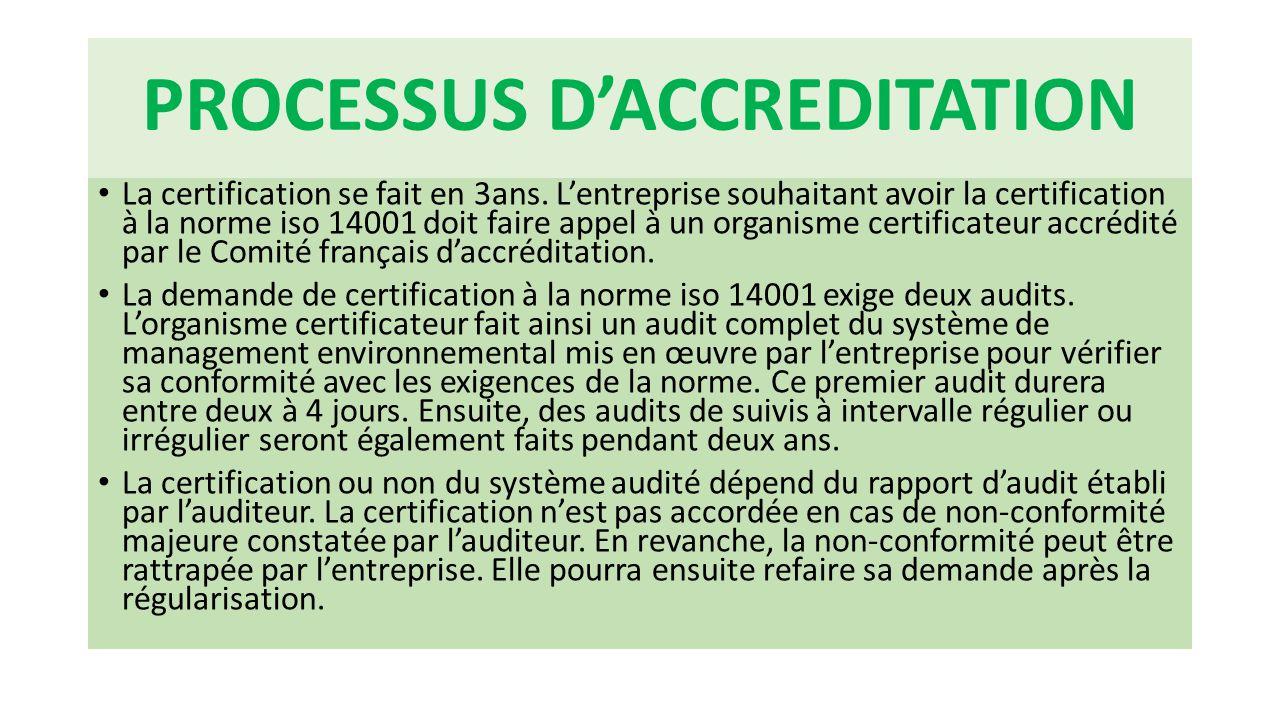 PROCESSUS D'ACCREDITATION La certification se fait en 3ans. L'entreprise souhaitant avoir la certification à la norme iso 14001 doit faire appel à un