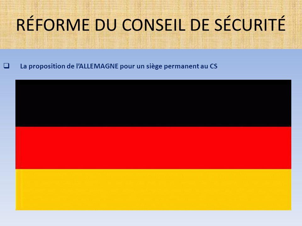  La proposition de l'ALLEMAGNE pour un siège permanent au CS RÉFORME DU CONSEIL DE SÉCURITÉ