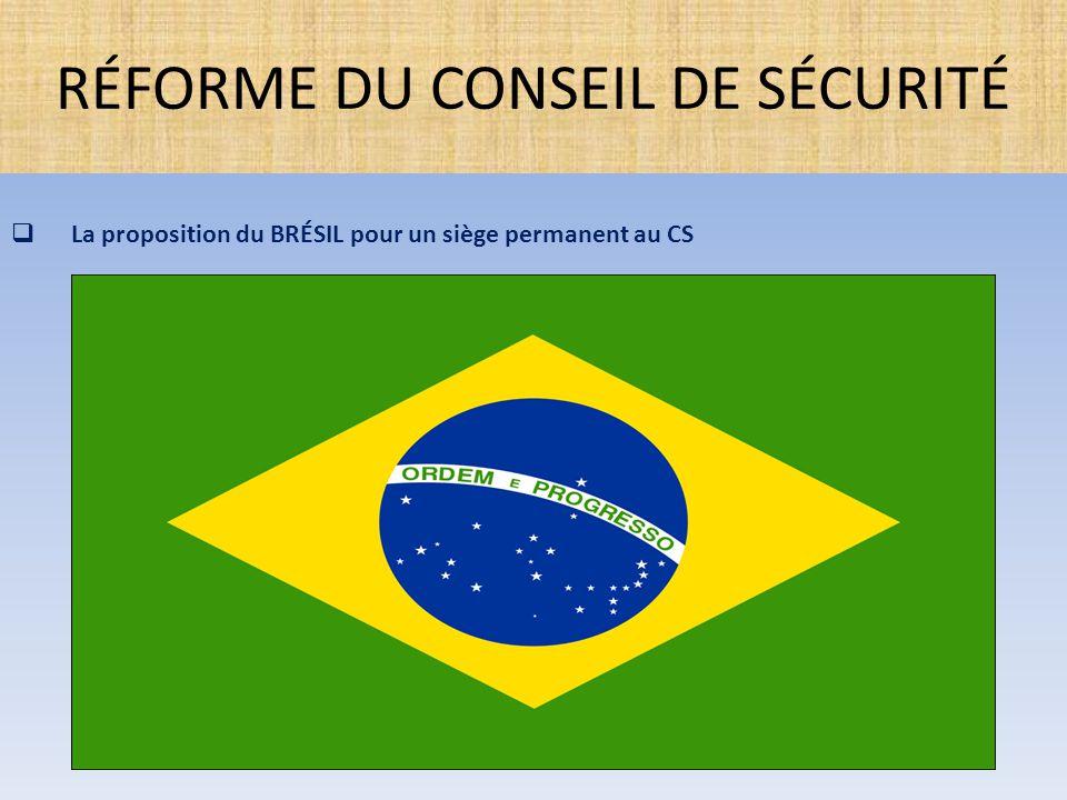  La proposition du BRÉSIL pour un siège permanent au CS RÉFORME DU CONSEIL DE SÉCURITÉ