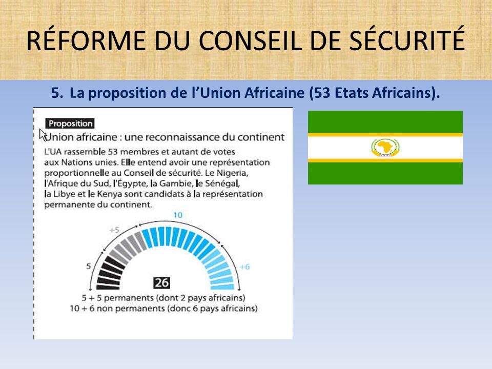 5.La proposition de l'Union Africaine (53 Etats Africains). RÉFORME DU CONSEIL DE SÉCURITÉ