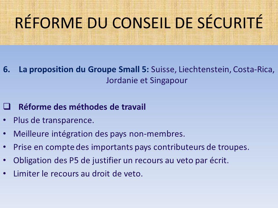 6.La proposition du Groupe Small 5: Suisse, Liechtenstein, Costa-Rica, Jordanie et Singapour  Réforme des méthodes de travail Plus de transparence. M