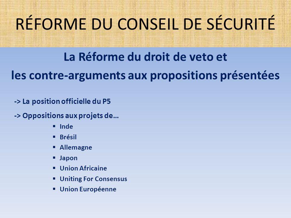 La Réforme du droit de veto et les contre-arguments aux propositions présentées -> La position officielle du P5 -> Oppositions aux projets de…  Inde