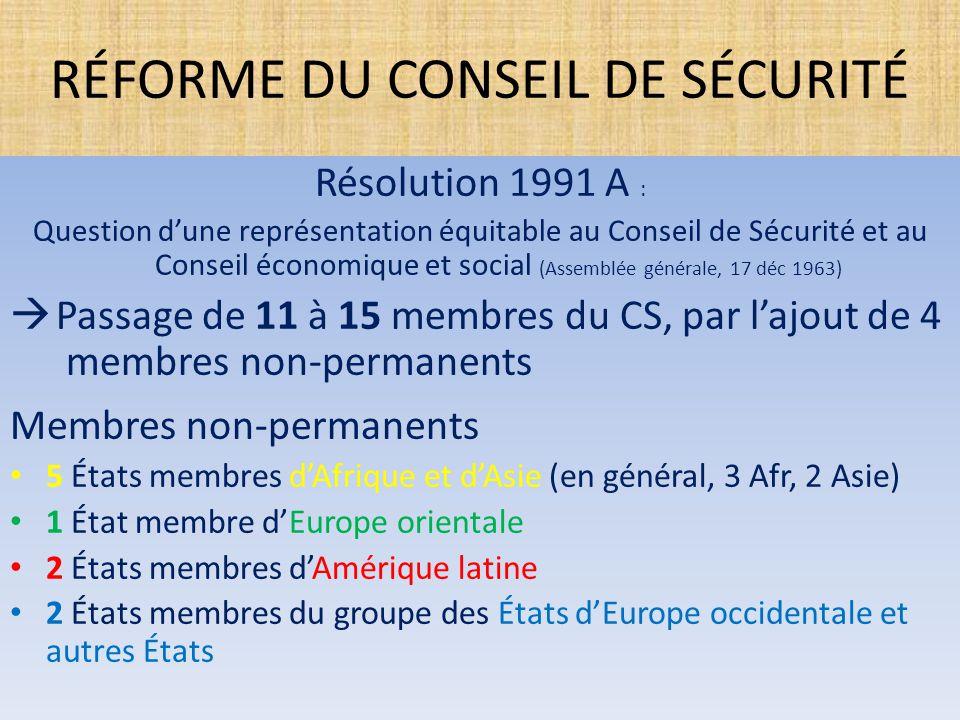RÉFORME DU CONSEIL DE SÉCURITÉ Résolution 1991 A : Question d'une représentation équitable au Conseil de Sécurité et au Conseil économique et social (