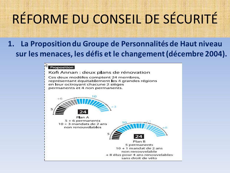 1.La Proposition du Groupe de Personnalités de Haut niveau sur les menaces, les défis et le changement (décembre 2004). RÉFORME DU CONSEIL DE SÉCURITÉ