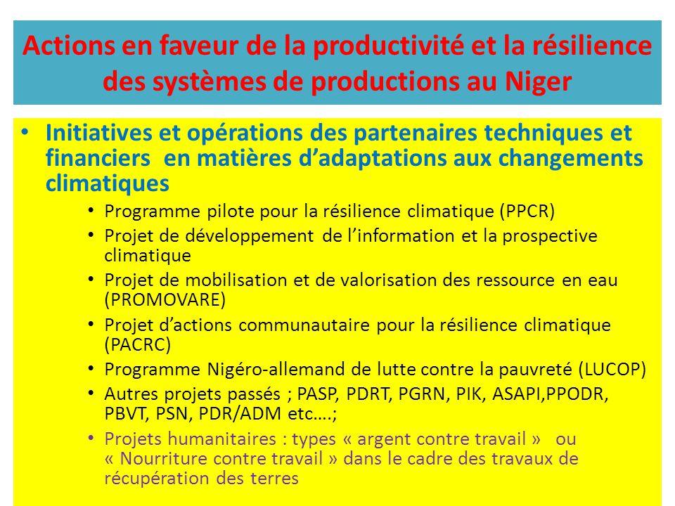 Actions en faveur de la productivité et la résilience des systèmes de productions au Niger Initiatives et opérations des partenaires techniques et fin