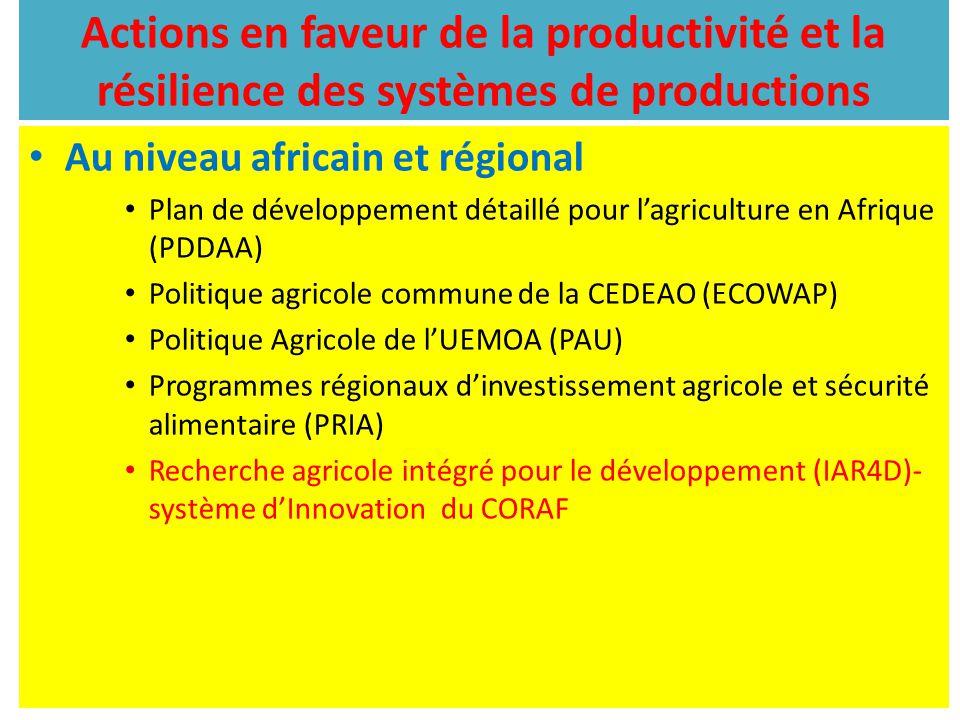 Actions en faveur de la productivité et la résilience des systèmes de productions Au niveau africain et régional Plan de développement détaillé pour l