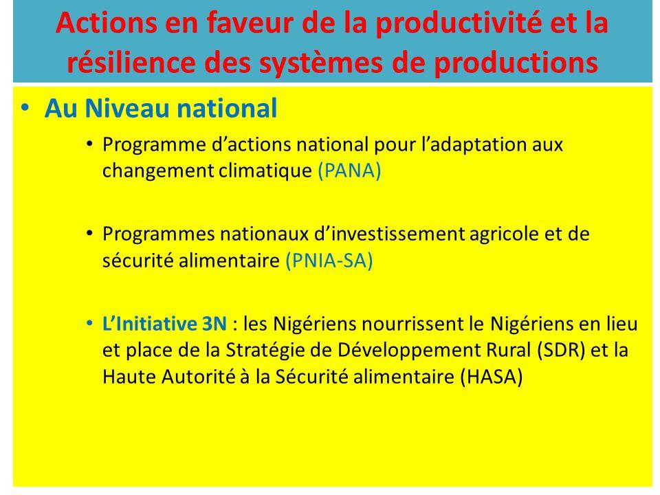 Actions en faveur de la productivité et la résilience des systèmes de productions Au Niveau national Programme d'actions national pour l'adaptation au