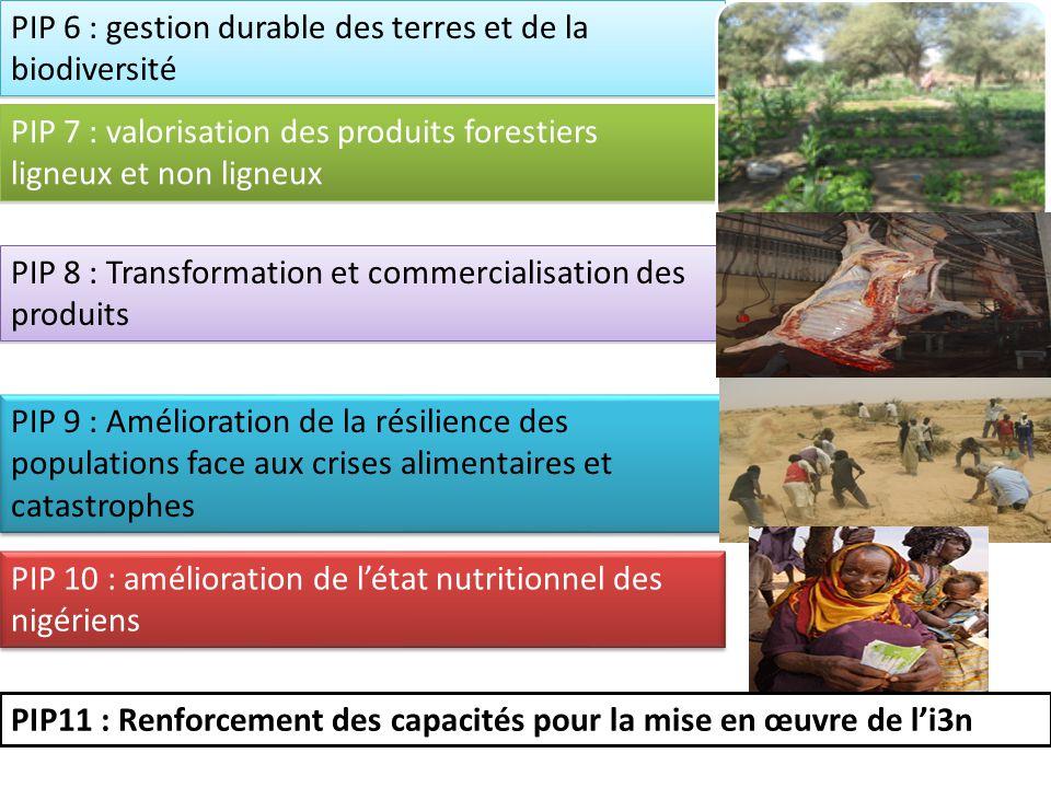 PIP 6 : gestion durable des terres et de la biodiversité PIP 7 : valorisation des produits forestiers ligneux et non ligneux PIP 8 : Transformation et