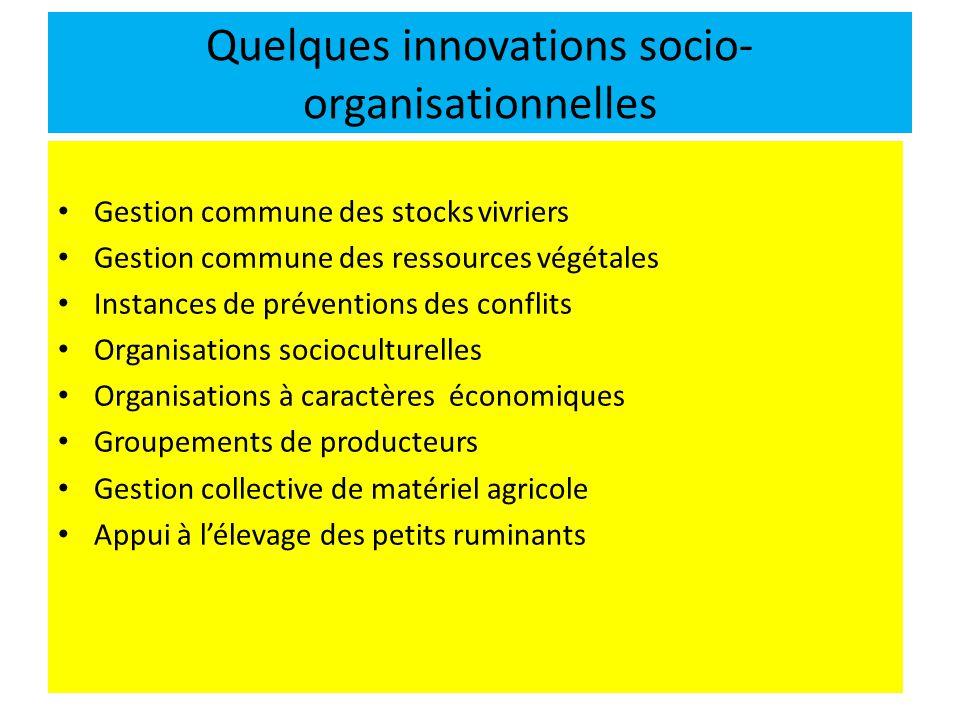 Quelques innovations socio- organisationnelles Gestion commune des stocks vivriers Gestion commune des ressources végétales Instances de préventions d