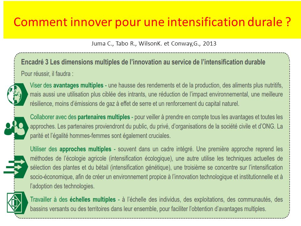 Comment innover pour une intensification durale ? Juma C., Tabo R., WilsonK. et Conway,G., 2013