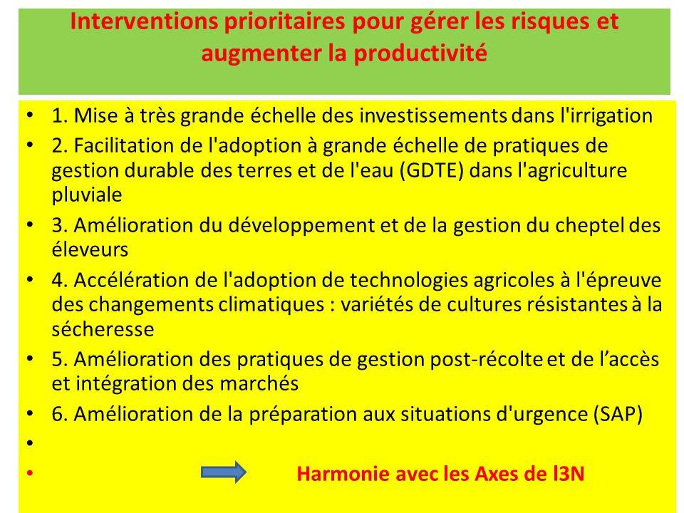 Interventions prioritaires pour gérer les risques et augmenter la productivité 1. Mise à très grande échelle des investissements dans l'irrigation 2.