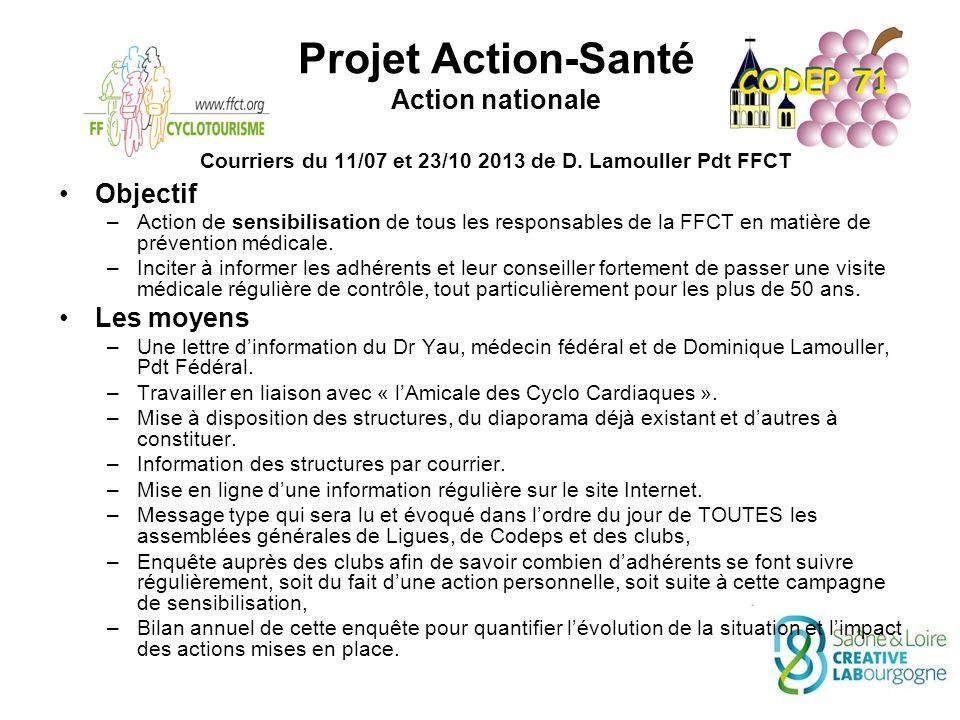 Projet Action-Santé Action nationale Courriers du 11/07 et 23/10 2013 de D.