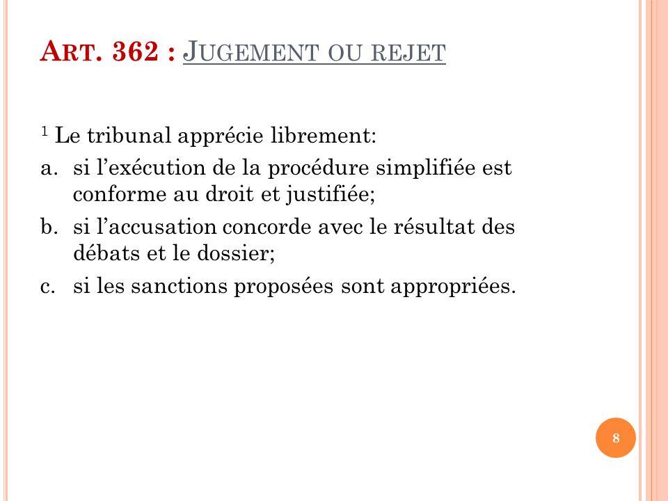 A RT. 362 : J UGEMENT OU REJET 1 Le tribunal apprécie librement: a.si l'exécution de la procédure simplifiée est conforme au droit et justifiée; b.si