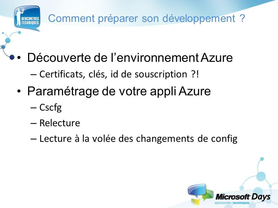 Comment préparer son développement ? Découverte de l'environnement Azure – Certificats, clés, id de souscription ?! Paramétrage de votre appli Azure –