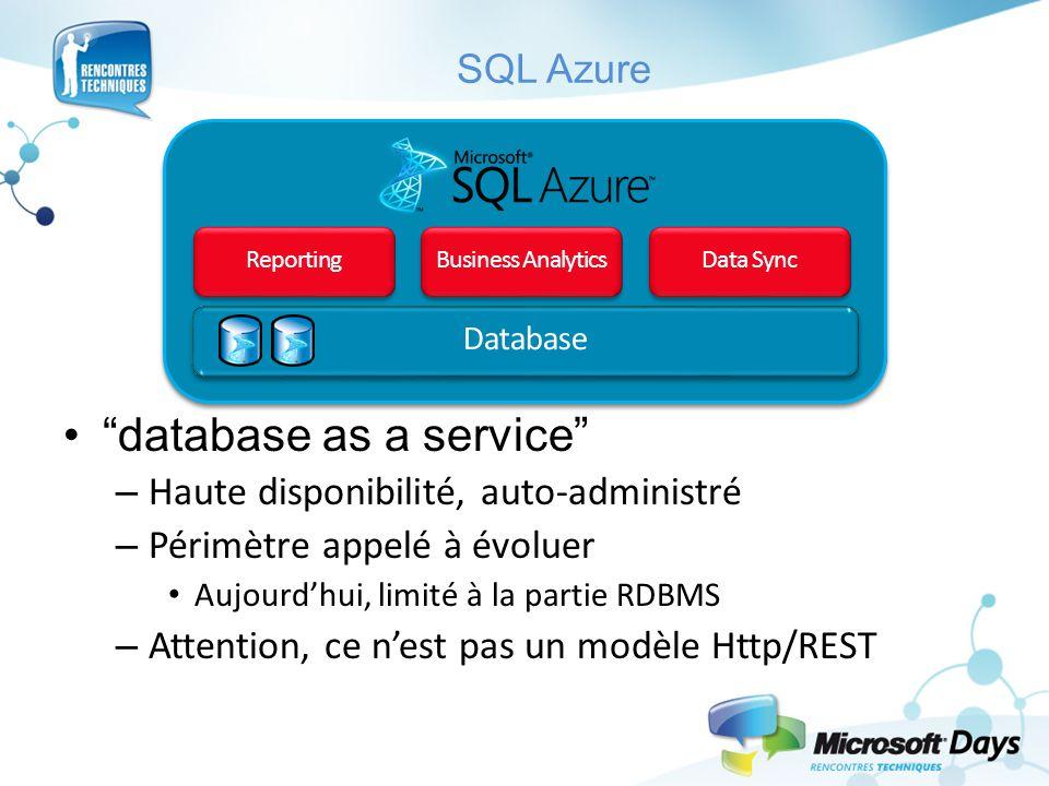 """SQL Azure """"database as a service"""" – Haute disponibilité, auto-administré – Périmètre appelé à évoluer Aujourd'hui, limité à la partie RDBMS – Attentio"""