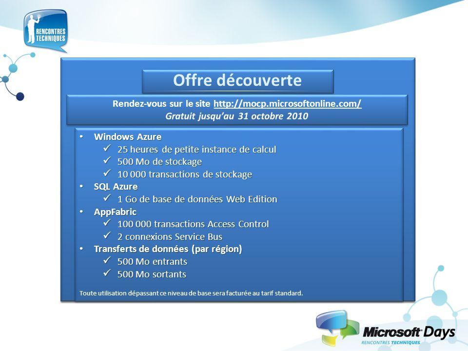 Offre découverte Windows Azure Windows Azure 25 heures de petite instance de calcul 25 heures de petite instance de calcul 500 Mo de stockage 500 Mo d