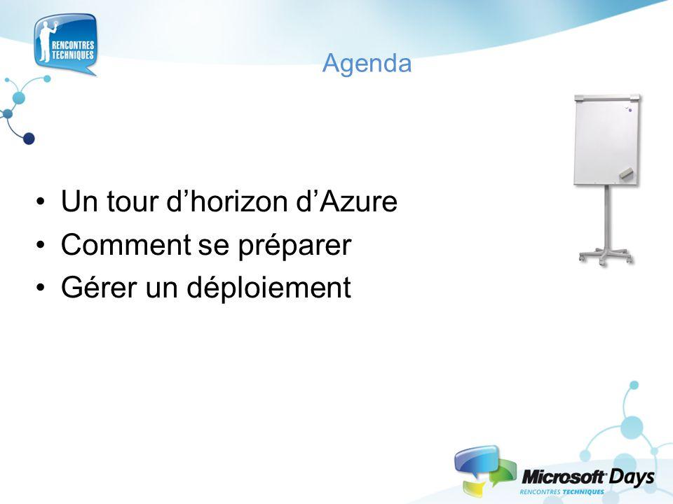 Agenda Un tour d'horizon d'Azure Comment se préparer Gérer un déploiement
