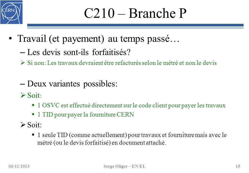 C210 – Branche P Travail (et payement) au temps passé… – Les devis sont-ils forfaitisés?  Si non: Les travaux devraient être refacturés selon le métr