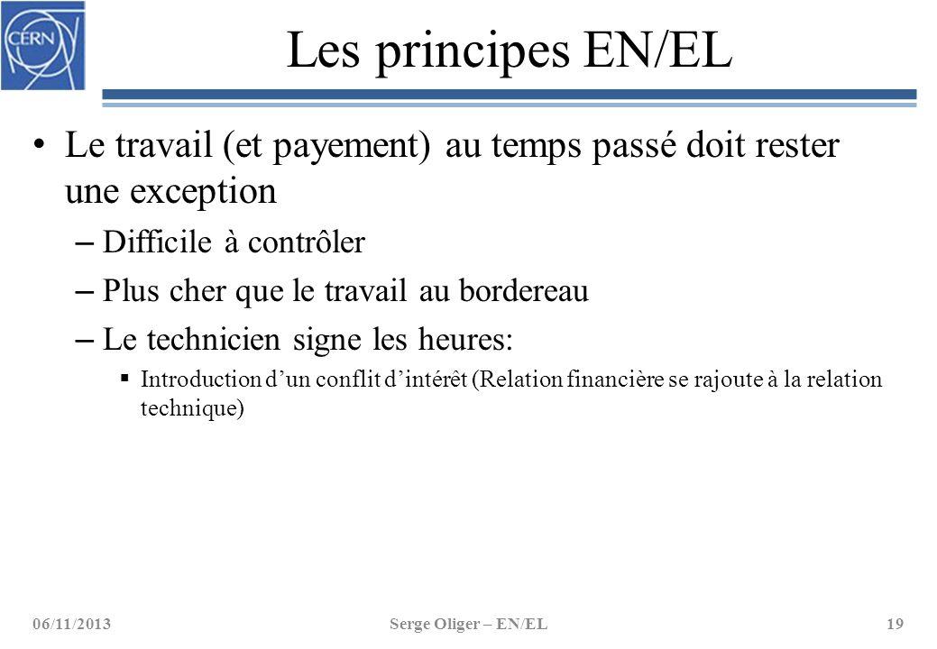 Les principes EN/EL Le travail (et payement) au temps passé doit rester une exception – Difficile à contrôler – Plus cher que le travail au bordereau