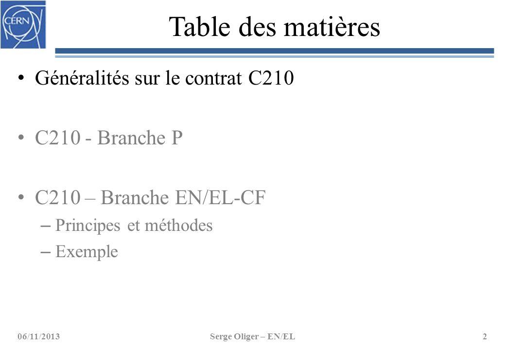 Table des matières Généralités sur le contrat C210 C210 - Branche P C210 – Branche EN/EL-CF – Principes et méthodes – Exemple 06/11/2013Serge Oliger –