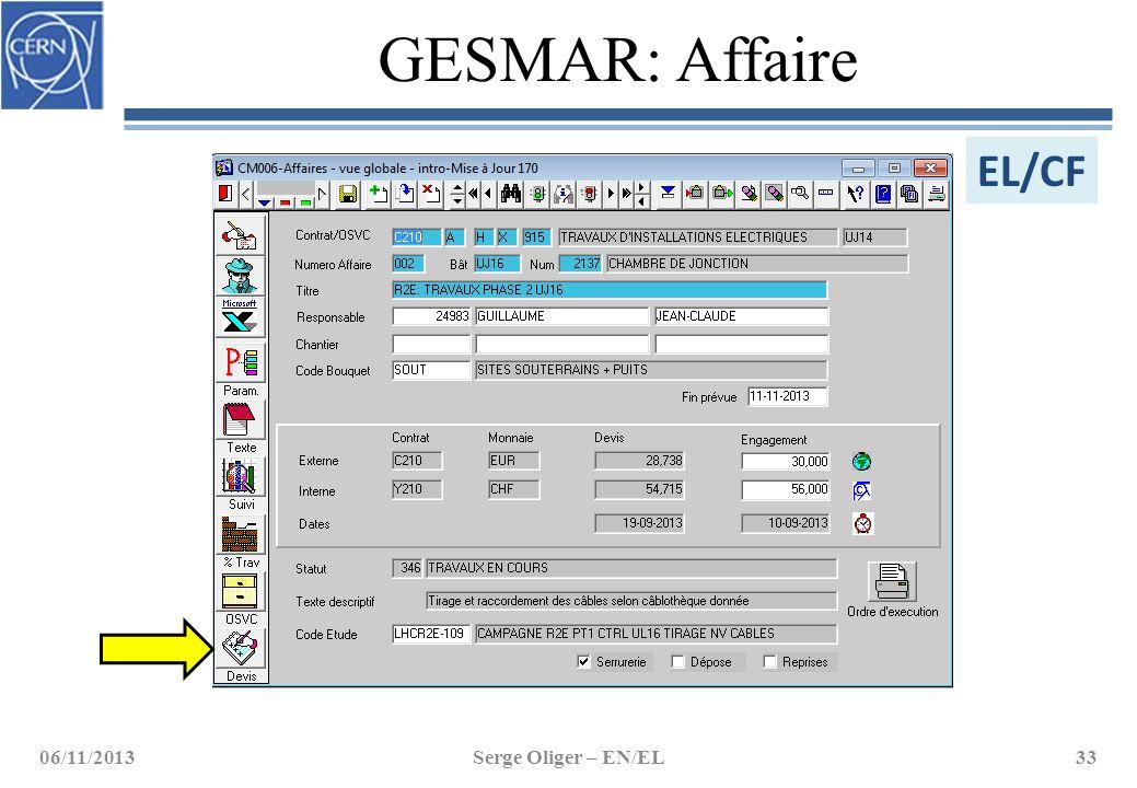 GESMAR: Affaire 06/11/2013Serge Oliger – EN/EL33 EL/CF