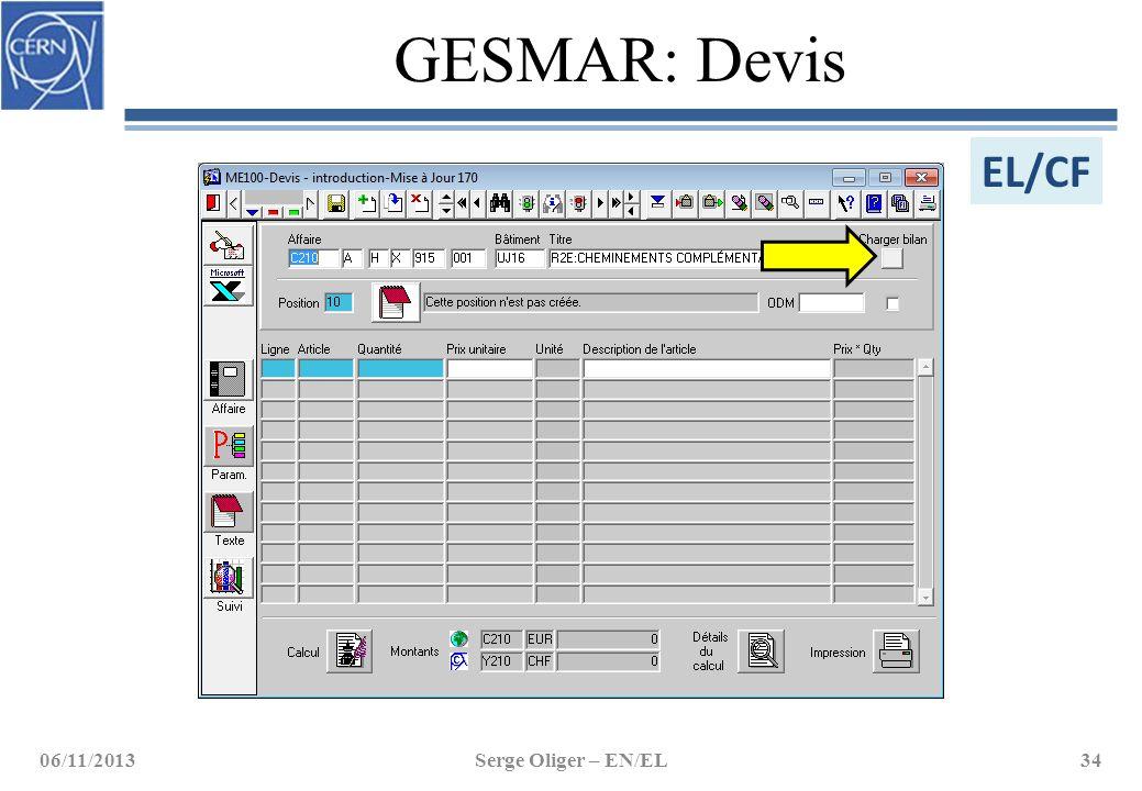 GESMAR: Devis 06/11/2013Serge Oliger – EN/EL34 EL/CF