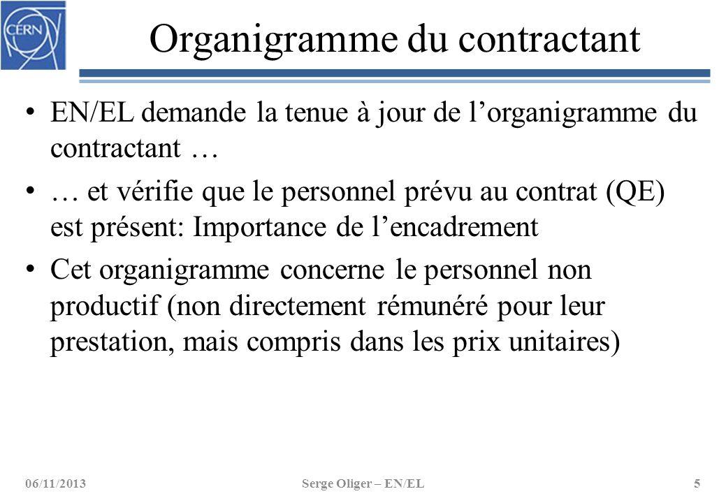 Organigramme du contractant EN/EL demande la tenue à jour de l'organigramme du contractant … … et vérifie que le personnel prévu au contrat (QE) est p