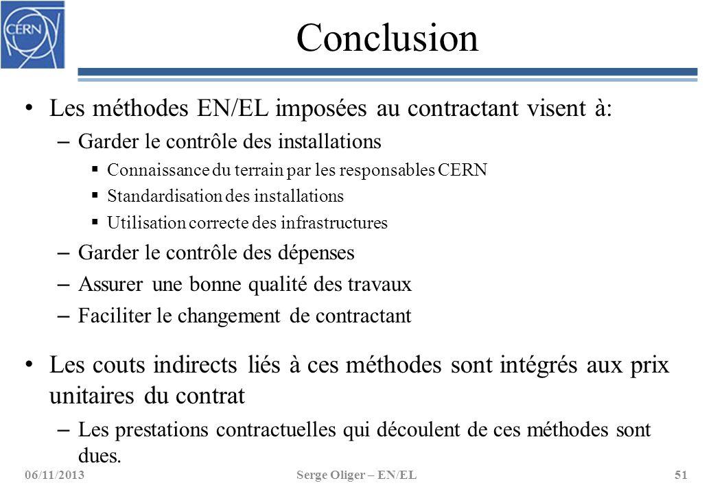 Conclusion Les méthodes EN/EL imposées au contractant visent à: – Garder le contrôle des installations  Connaissance du terrain par les responsables