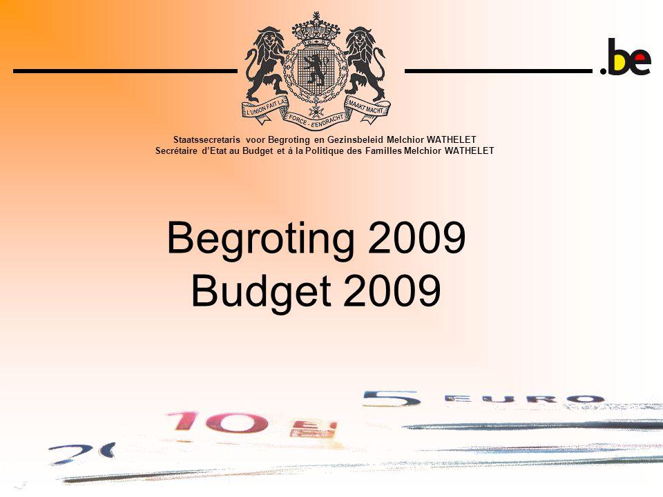 Begroting 2009 Budget 2009 Staatssecretaris voor Begroting en Gezinsbeleid Melchior WATHELET Secrétaire d'Etat au Budget et à la Politique des Familles Melchior WATHELET