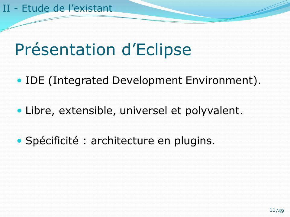 /49 II - Etude de l'existant Présentation d'Eclipse IDE (Integrated Development Environment). Libre, extensible, universel et polyvalent. Spécificité