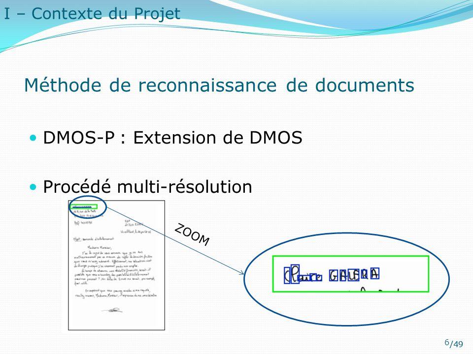 /49 Méthode de reconnaissance de documents DMOS-P : Extension de DMOS Procédé multi-résolution ZOOM I – Contexte du Projet 6