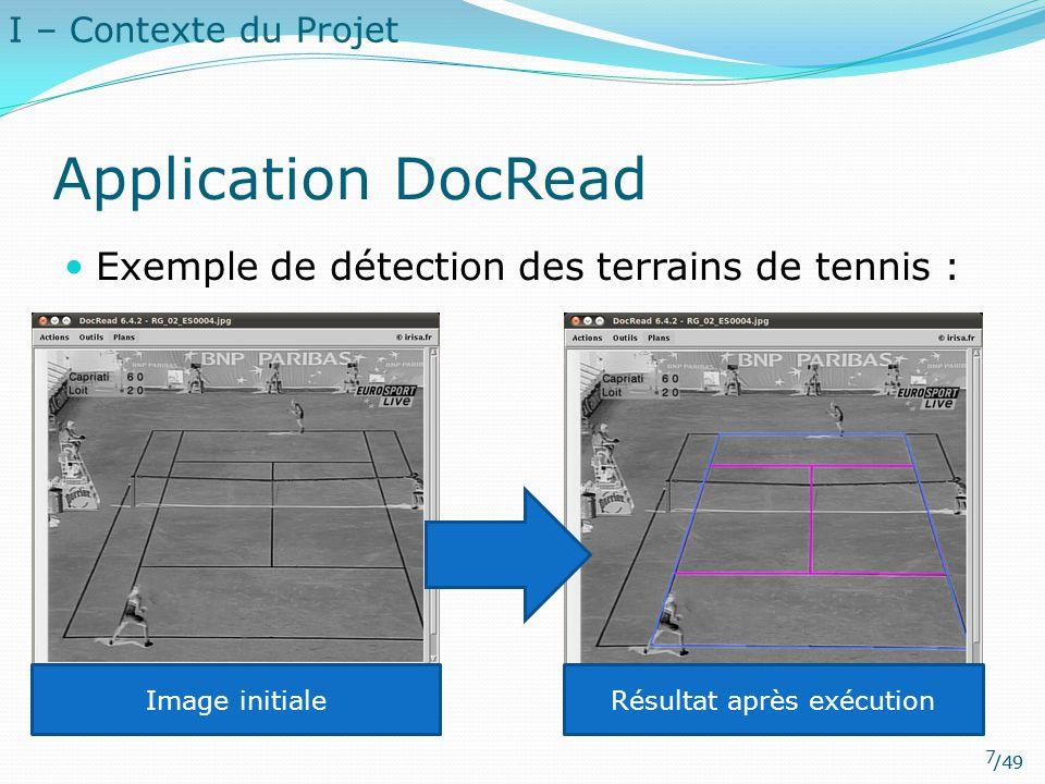 /49 Application DocRead Exemple de détection des terrains de tennis : Image initialeRésultat après exécution I – Contexte du Projet 7