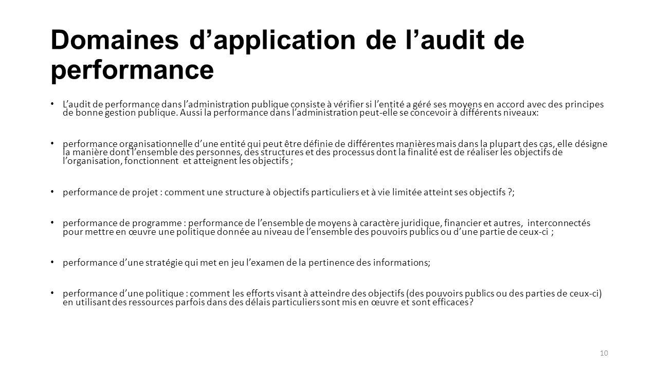 Domaines d'application de l'audit de performance L'audit de performance dans l'administration publique consiste à vérifier si l'entité a géré ses moyens en accord avec des principes de bonne gestion publique.